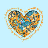 Love card. Turquoise orange heart design with abstract  pattern. Royalty Free Stock Photos