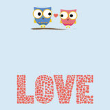 Love card3. Two birds in love Royalty Free Stock Photography