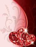 Love card with two ruby hearts. Royalty Free Stock Images