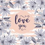 Love card Valentine greeting cards. Floral frame drawing flowers chamomiles Royalty Free Stock Photos