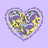 Love card. Violet yellow heart design with abstract  pattern. Stock Photo