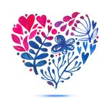 Love card with watercolor floral bouquet. Valentine's Day  illustration with heart form Stock Photography