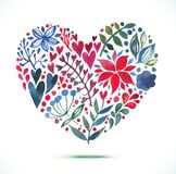 Love card with watercolor floral bouquet.  Valentine's Day vector illustration with heart form Royalty Free Stock Photo