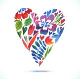 Love card with watercolor floral bouquet. Valentine's Day vector illustration with heart form Stock Images