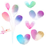 Love card with watercolor hearts Royalty Free Stock Photography