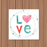 Love card on a wooden background. Stock Photo