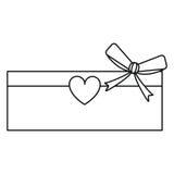 Love cardboard box bow heart romance present line. Vector illustration eps 10 royalty free illustration