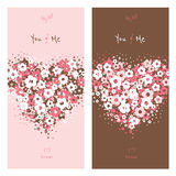 Love cards with flower heart. Nice greeting cards with heart shape made of flowers for wedding invitation, birthday or other holiday. Colorful template for your Stock Photography