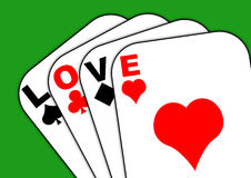 Love on the cards green background. Playing cards with the words love instead of Ace Royalty Free Stock Photo