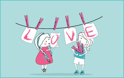 Love cards hanging from clothesline. Vector illustration of love cards hanging from clothesline Stock Photo