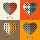 Love cards. Set of love cards. Heart and arrow Stock Image