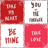 Love cards. Vector collection with lettering elements for love. Posters with romantic quotes royalty free illustration
