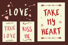 Love cards. Vector collection with lettering elements for love. Posters with romantic quotes.  royalty free illustration
