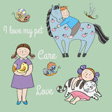 Love and care. Illustration with kids and pets.I love my pet stock illustration
