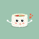 Love cartoon roll, suchi. Cute japanese food. Stock Photo