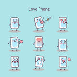 Love cartoon smart phone Stock Images