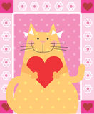 Love Cat. Cat is holding a heart Stock Photos
