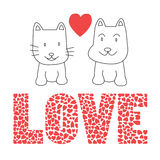 Love cat and dog Stock Image