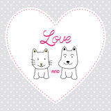 Love cat and dog card4 Stock Photography