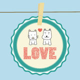 Love cat and dog card1 Stock Image