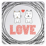 Love cat and dog card3 Stock Photos