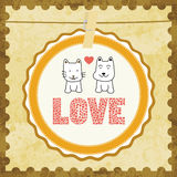 Love cat and dog card2 Royalty Free Stock Photography