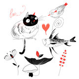 Love the cat with the fish and bird. Graphic love the cat with a bird and a fish on a white background with plants and mushrooms Stock Photo