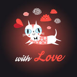 Love cat with heart. Funny portrait of love with a cat on a dark background Royalty Free Stock Photo