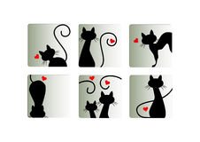 Love cat icons set Stock Images