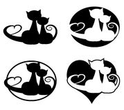 In love cats. Set of two black cats Stock Images