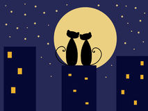 Love cats. Two cats in love, Saint Valentine illustration Royalty Free Stock Photo