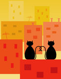 Love cats. Two cats watching the sunset Royalty Free Stock Image