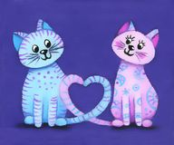 Love cats couple illustration for valentine`s day card or background.