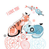 Love cats and fish. Graphic love cats and fish on a white background with flowers Royalty Free Stock Images