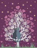 In love cats on a flowering tree Stock Photography
