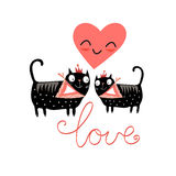 Love cats and heart Stock Photography