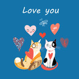 Love cats and heart Stock Photos