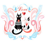 Love cats and heart Royalty Free Stock Photography