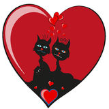 Love cats in heart Royalty Free Stock Photos