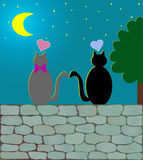 Love Cats & moonlight (vector). Two cats together under the moonlight on a wall with hearts over the head.  Vector Royalty Free Stock Photography