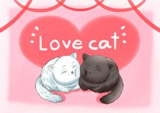 Love cats pink background wallpaper royalty free illustration