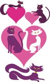 Love cats retro vector illustrations Stock Photo