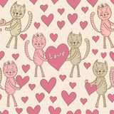 Love cats seamless pattern for Valentine's Day Royalty Free Stock Photography