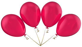 Love celebration balloons. Bunch of four transparent pink balloons. 3d render (Hi-Res Stock Photography