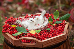 Love ceramics white birds and mountain ash berries. Vintage style Royalty Free Stock Image