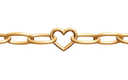 Love chain. 3d golden heart with chain, fetters, isolated Stock Photo