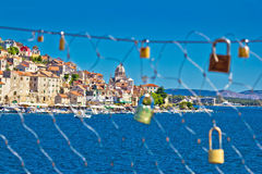 Love chain fence in town of Sibenik Royalty Free Stock Images