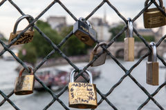 Love Chains in Pont de Arts Paris Royalty Free Stock Photos