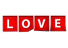 Love typography with red note on white background. Love character typography with red note on white background Stock Images