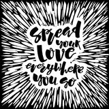 Love and charity concept hand lettering motivation poster. Stock Images
